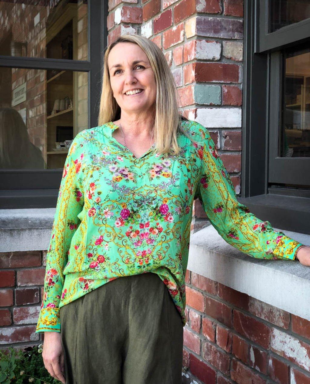Inoa Fashions | Silk Blouse | Chartreuse