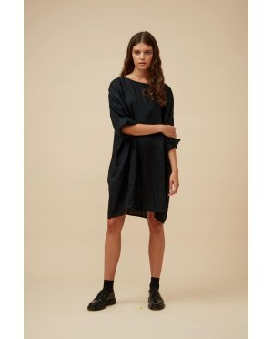 Widdess - Jiho Dress - Linen - Black Rice
