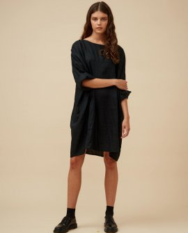 Widdess - Jiho Dress - Linen - Black Rice