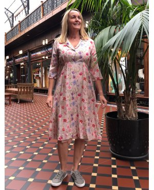 Jiva | 1950s-style Tea Dress | 100% Pure Silk | Pink Floral