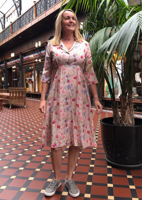 Jiva | 1950s-style Tea Dress | 100% Pure Silk | Pink Floral
