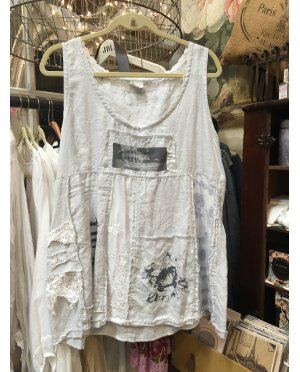 Lace - by Donelle Scott | Grey Linen Tunic with Vintage Image
