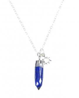 Pam Kerr Designs | Lapis Lazuli Gemstone Point Necklace | Sterling Silver Chain with Charm