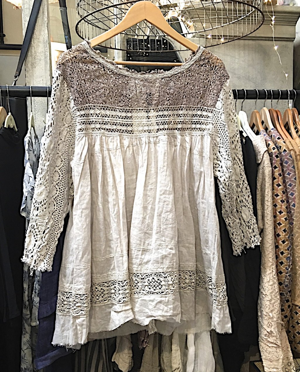 Magnolia Pearl | Linen Ramie Top with Lace Sleeves & Bodice | Nanette - Antique White
