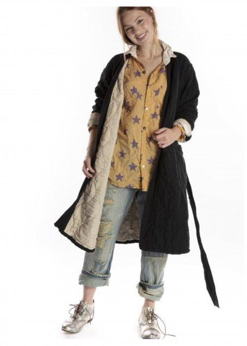 Magnolia Pearl | Quilted Oro Coat | Cotton Velvet Coat | Midnight