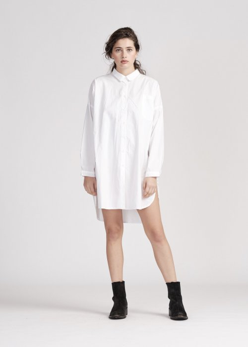 Widdess | Patti Shirt - Shirt Dress |White | 100% Japanese Cotton