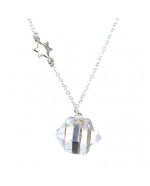 Pam Kerr Designs | Rock Crystal Nugget Necklace | Sterling Silver Chain with Charm
