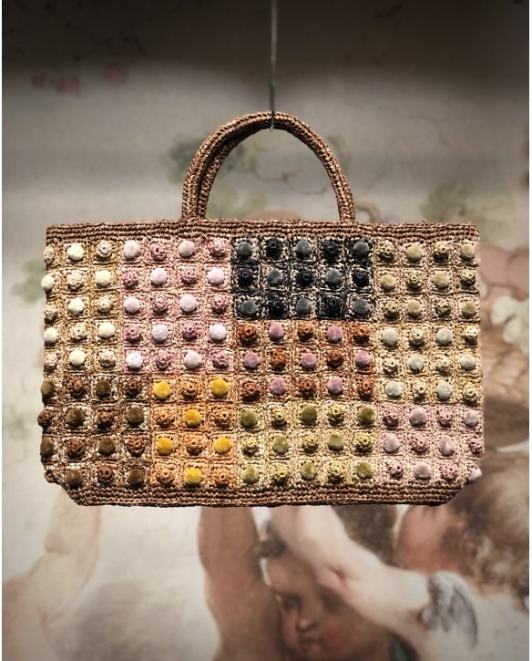 Sophie Digard | ALL NEW - SPRING 2020 | Large Raffia Hand Bag Multi-coloured Bobbles