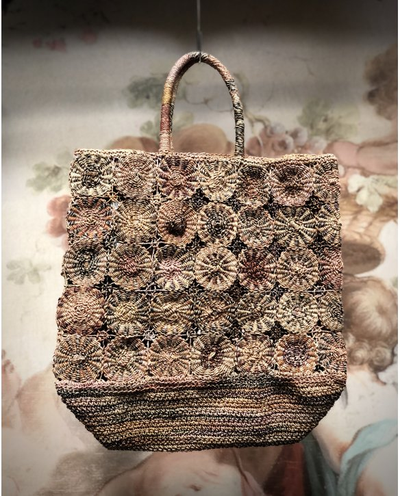 Sophie Digard | ALL NEW - SPRING 2020 | Large Rafia Hand Bag with Repeating Circles