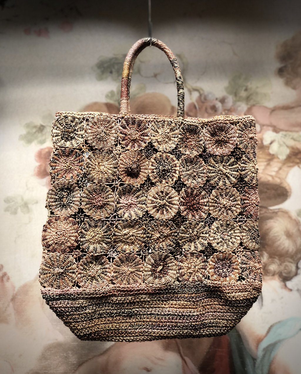 Sophie Digard | ALL NEW - SPRING 2020 | Large Raffia Hand Bag with Repeating Circles