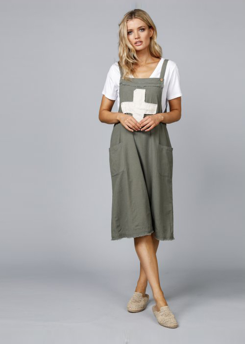 The Shanty Corporation | Lenny Pinafore | Fern Flex + Cross | 87% Cotton - 13% Flax