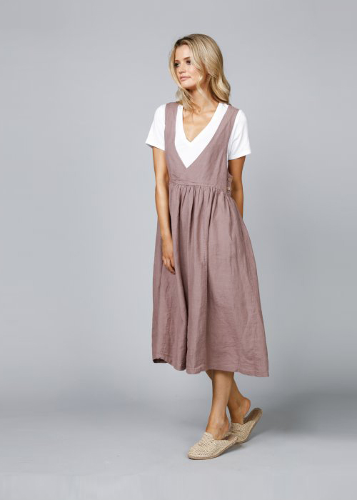 The Shanty Corporation | Zhivago Pinafore | Sienna | 100% linen