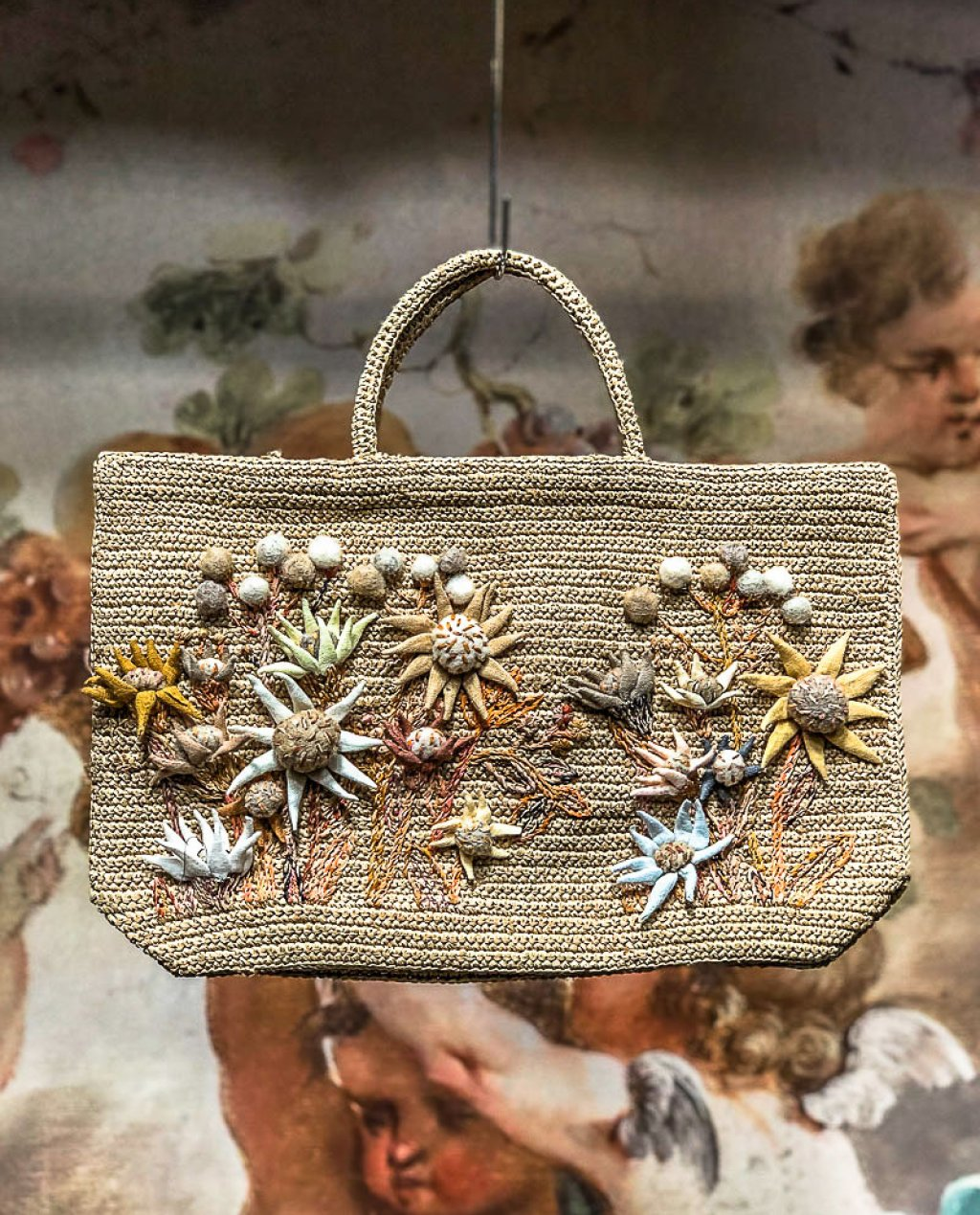 Sophie Digard | ALL NEW - SPRING 2020 | Flowers | Medium Raffia Hand Bag