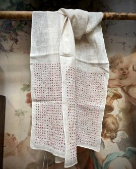 Sophie Digard - Multi Dot - Embroidered Scarf - Linen