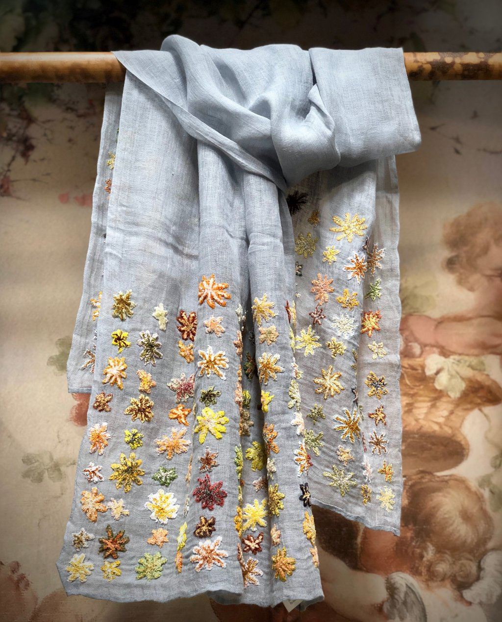 Sophie Digard - Fantail - Embroidered Scarf - Linen