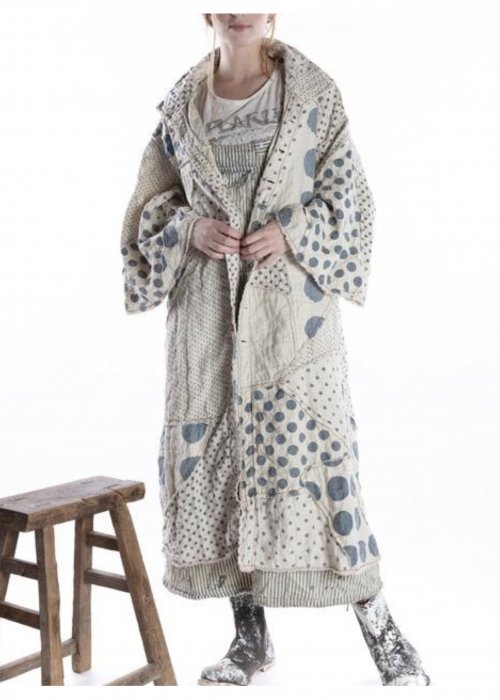 Magnolia Pearl |  Quilted Linen Patchwork Sila Coat | | Yayoi