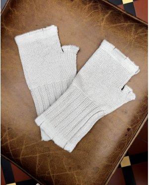Banana Blue - Merino Fingerless Gloves - Stone