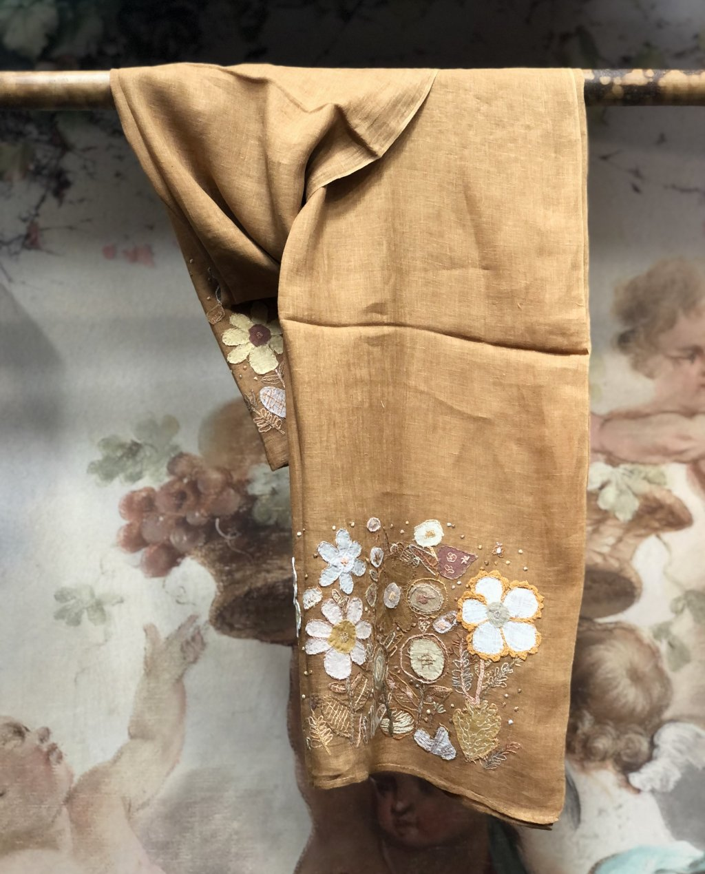 Sophie Digard | ALL NEW - SPRING 2020 | Embroidered Linen Scarf - Mustard