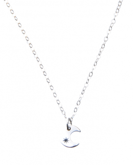 Pam Kerr Designs | Crescent Moon Charm Necklace | Sterling Silver Chain