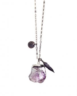 Pam Kerr Designs | Gypset Amethyst Nugget Necklace | Antiqued Silver-plated Chain with 2 Charms